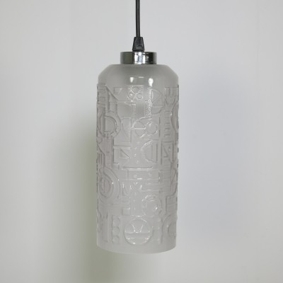 Pressed frosted glass pendant light
