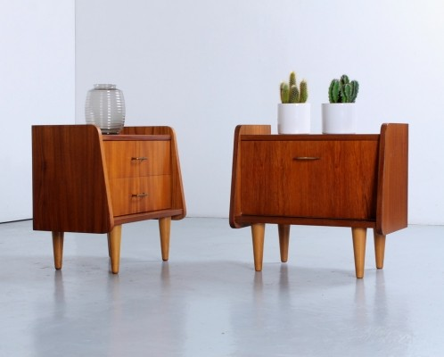 Pair of teak night stand cabinets, 1950s