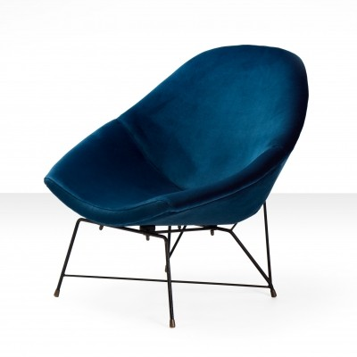 Augusto Bozzi 'Kosmos' Chair for Saporiti in blue velvet fabric, 1950s