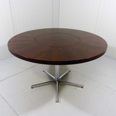 Round Rosewood Dining Table by Emü Germany with Revolving Center, 1960's
