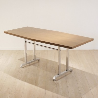 Dining table or desk in wood & chrome