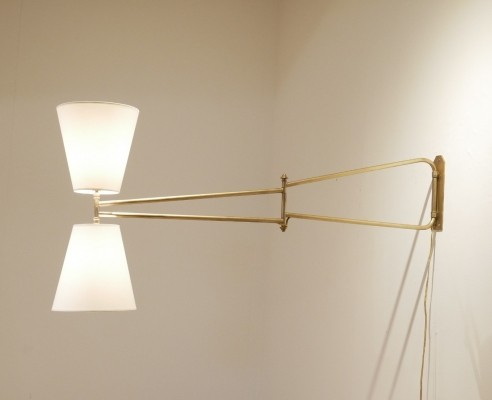 Mid Century French Full Brass & Diabolo Shades Arm Lamp
