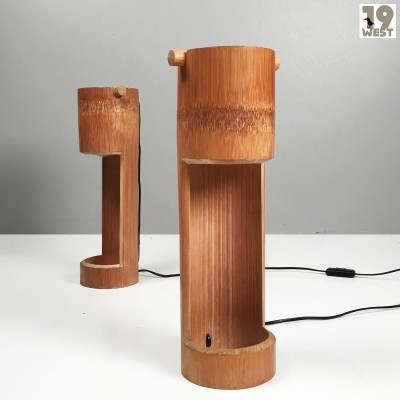 Two bamboo table lamps from the 1970's
