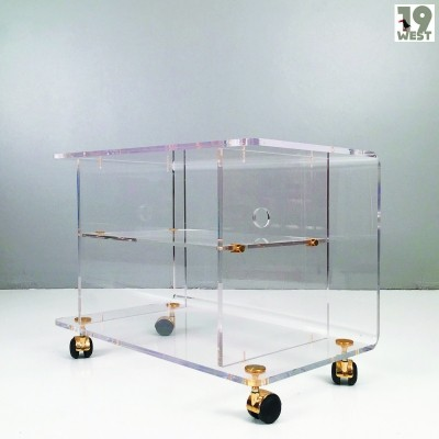Regency lucite & brass trolley from the 1970's