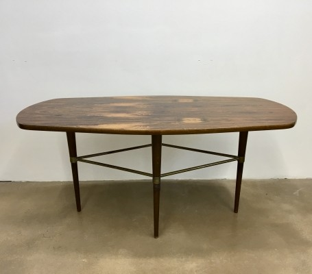 Vintage Swedish Coffee Table in Rosewood & Brass Details by Förenades Möbler