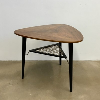 Vintage 1950s Danish Triangular Coffee Table in Rosewood with Rack