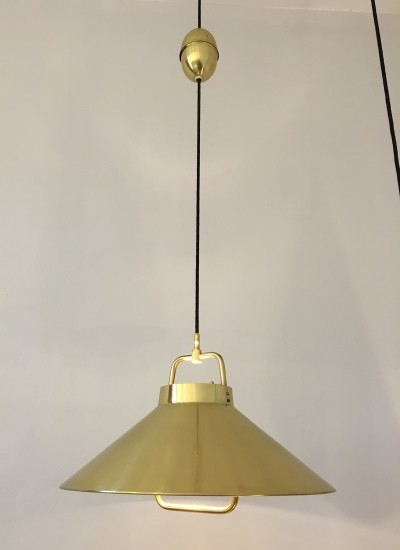 Vintage 1960s Danish Brass Pendant Light by Fritz Schleger for Lyfa