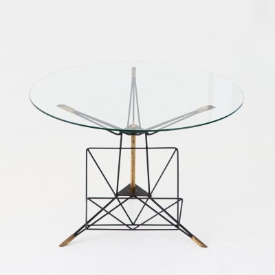 Italian Modern Round Coffee Table with Iron & Brass Frame, 1950s