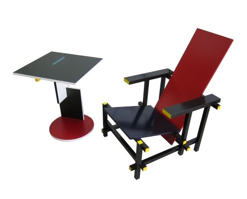 Cassina 635 Red & Blue chair + 634 Schroeder house side table by Gerrit Rietveld
