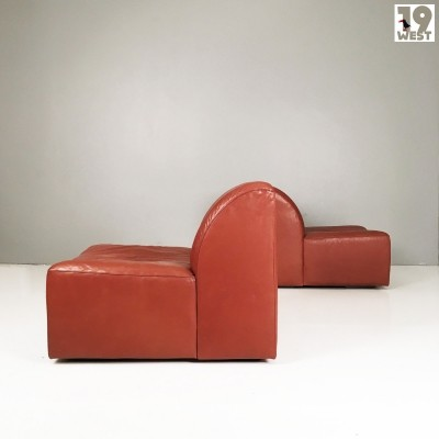 Two leather lounge chairs from the 1970's