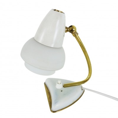 Small white bedside light with glass shade & messing details, 1950s