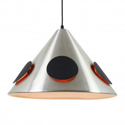 Retro pendant light with illuminated black circular discs, 1960s