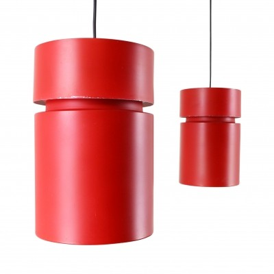 Pair of red metal pendant lights, 1960s