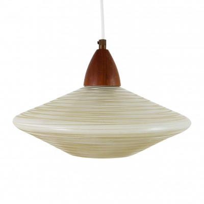 Philips pendant light with striped glass & wood, 1960s