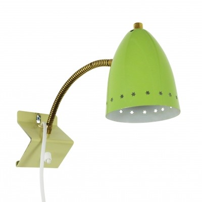 Lime green 'Sterrenserie' wall light by H. Busquet for Hala Zeist, 1950s