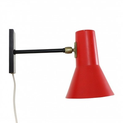 Red & black wall light by J. Hoogervorst for Anvia, 1950s