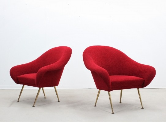 Pair of Mid century Italian armchairs with original Orsetto fabric