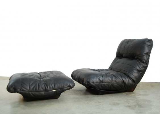 Vintage 'Marsala' lounge armchair with hocker by Michel Ducaroy for Ligne Roset