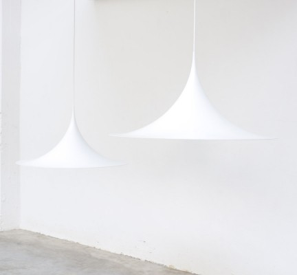 Large White Semi Pendant Lamps by Bonderup & Thorup for Fog & Morup