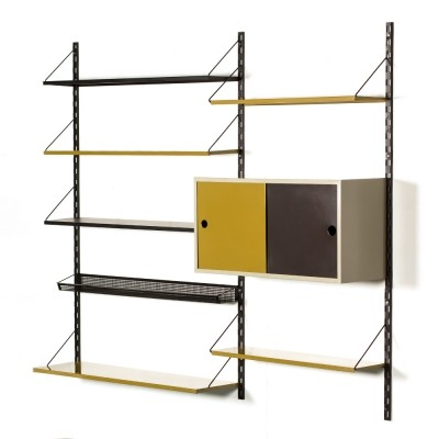 Vintage Tjerk Reijenga modular wall unit for Pilastro in black & olive green