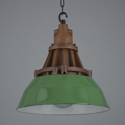 Green industrial Heyes & Co pendant lights originally installed in a Mine in Scotland