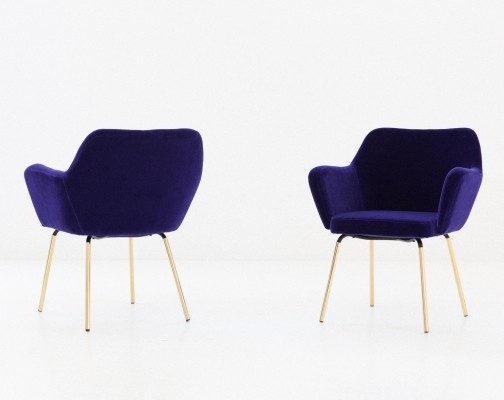 Gio Ponti for Arflex Pair of 'Airone' Violet Velvet Armchairs, 1950s