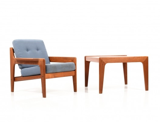 Danish Teak Easy Chair & Sofa Table by Arne Wahl Iversen for Komfort