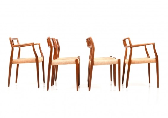 Set of six Model No.79 & 64 Dining Chairs in Teak by Niels O.Moller