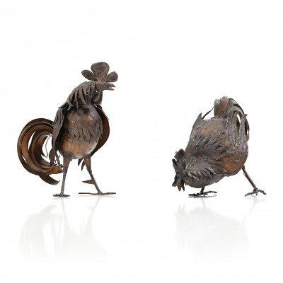 Mid Century Danish Sculptures / Pair of Roosters in Copper