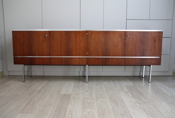Vintage XL sideboard in rosewood & chrome plated steel, France 1960's