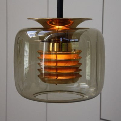 Ceiling light in smoked glass by Erco, Germany 1960's