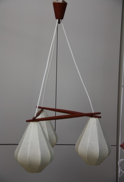 Ceiling lamp with 3 light drops, Denmark 1960's