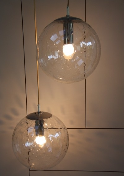 2 ceiling lamps in glass with bubbles by Raak, 1960's