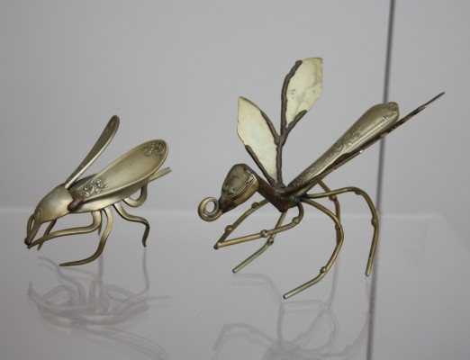 Dragonfly & cricket made of spoons & forks, 1960s