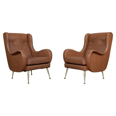 Pair of Italian lounge / arm chairs by Aldo Morbelli