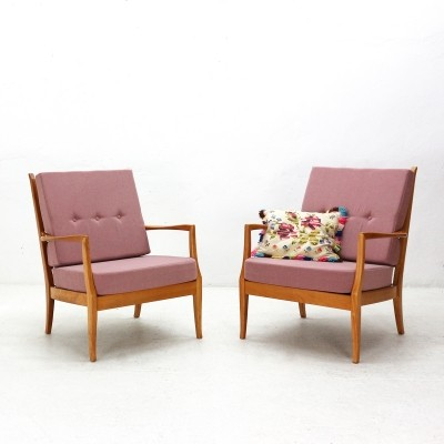 Pair of Dusky Pink Cherrywood Easy Chairs, 1950s