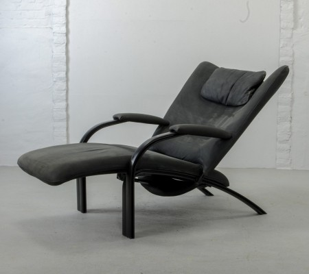 Nubuck Leather Relax Lounge Chair by Stephan Heiliger for WK Wohnen, 1980s