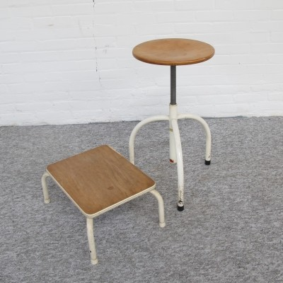 Industrial stool with footstool by Paramedi Haarlem, 1960s