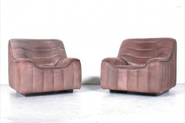 Set of 2x De Sede DS84 club chair with soft & thick neckleather