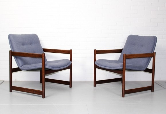 Vintage Artifort Lounge Chairs with Rosewood Cube Frame
