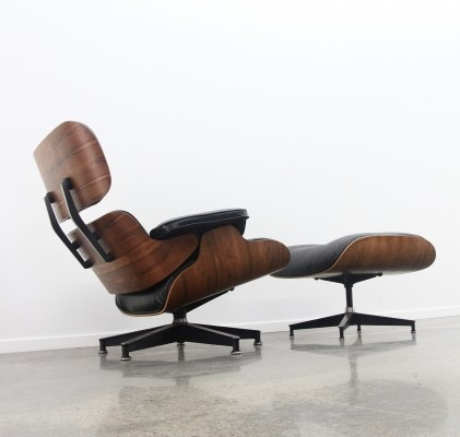 Eames Lounge Chair + Ottoman In Black Leather/rosewood, 1970s