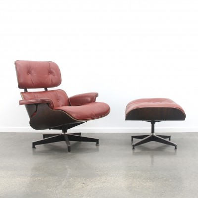 Eames lounge chair + ottoman in red leather/dark rosewood, 1960s