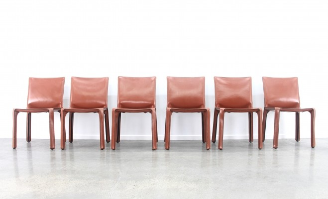 Set of 6 tan/congac leather 'Cab' chairs by Mario Bellini for Cassina