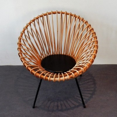 Mid century rattan scoop chair, 1950's