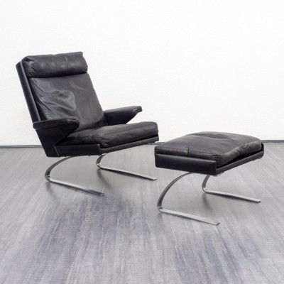 Black leather COR Swing chair with foot stool by Reinhold Adolf, 1960s