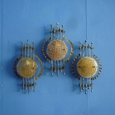 Brutalist Wall Lamps 1960s, Set of 3