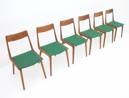 Set of 6 Boomerang dinner chairs by Erik Christensen for Slagelse Møbelværk, 1960s