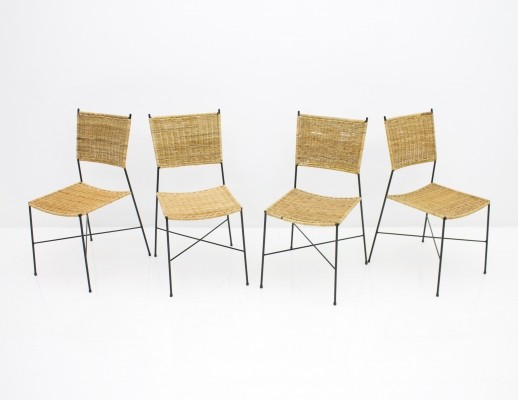 Set of Four Dining Room Chairs in Wicker & Metal, Germany 1960s