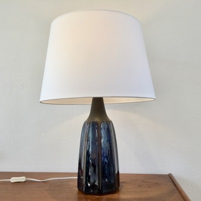 Vintage Blue Danish Ceramic Table Lamp by Einar Johansen for Soholm Stentoj