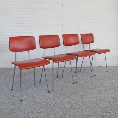 Four rare Gispen dinner chairs designed by A.R. Cordemeijer, 1950s